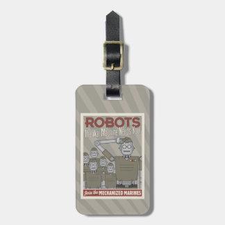 Propaganda de los militares del robot del estilo etiquetas bolsas