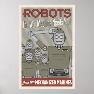 Propaganda de los militares del robot del estilo impresiones
