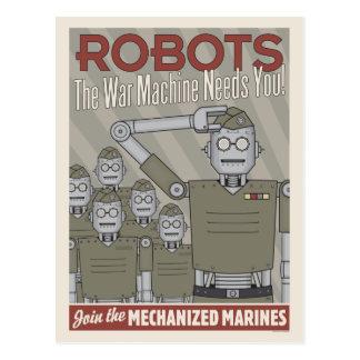 Propaganda de los militares del robot del estilo postal