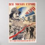 Propaganda de URSS Unión Soviética Mosmetrostroy 1 Posters