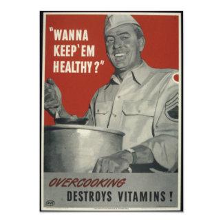 """Propaganda del americano del vintage WWII Invitación 5"""" X 7"""""""