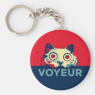 Propaganda del gato del VOYEUR Llavero