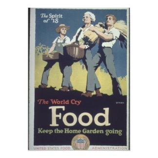 Propaganda del granjero de la comida del vintage invitación 12,7 x 17,8 cm