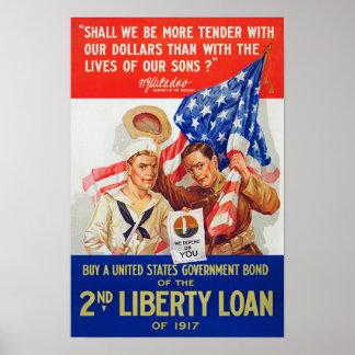 Propaganda del préstamo 1917 WWI de la libertad de Póster