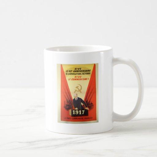 Propaganda francesa del comunista del vintage taza