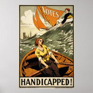 Propaganda perjudicada del sufragio del vintage póster