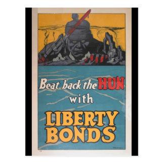 "Propaganda Poster ""Beat Back the Hun"" WWI Postcard"