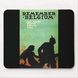 "Propaganda Poster ""Remember Belgium"" WWII Mouse Pad"
