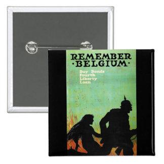"Propaganda Poster ""Remember Belgium"" WWII Pinback Button"