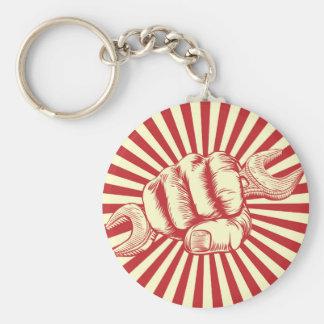 Propaganda Poster Spanner Woodcut Fist Keychain