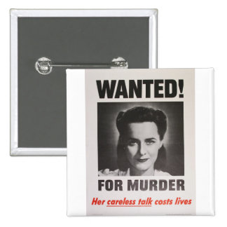 """Propaganda Poster """"Wanted for Murder"""" WWII Button"""