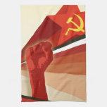 Propaganda rusa del comunista del vintage toalla de mano
