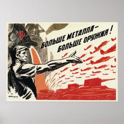 Propaganda soviética 1942 de WWII URSS Póster