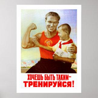 Propaganda soviética del ejercicio póster