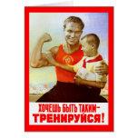 Propaganda soviética del ejercicio tarjeta de felicitación