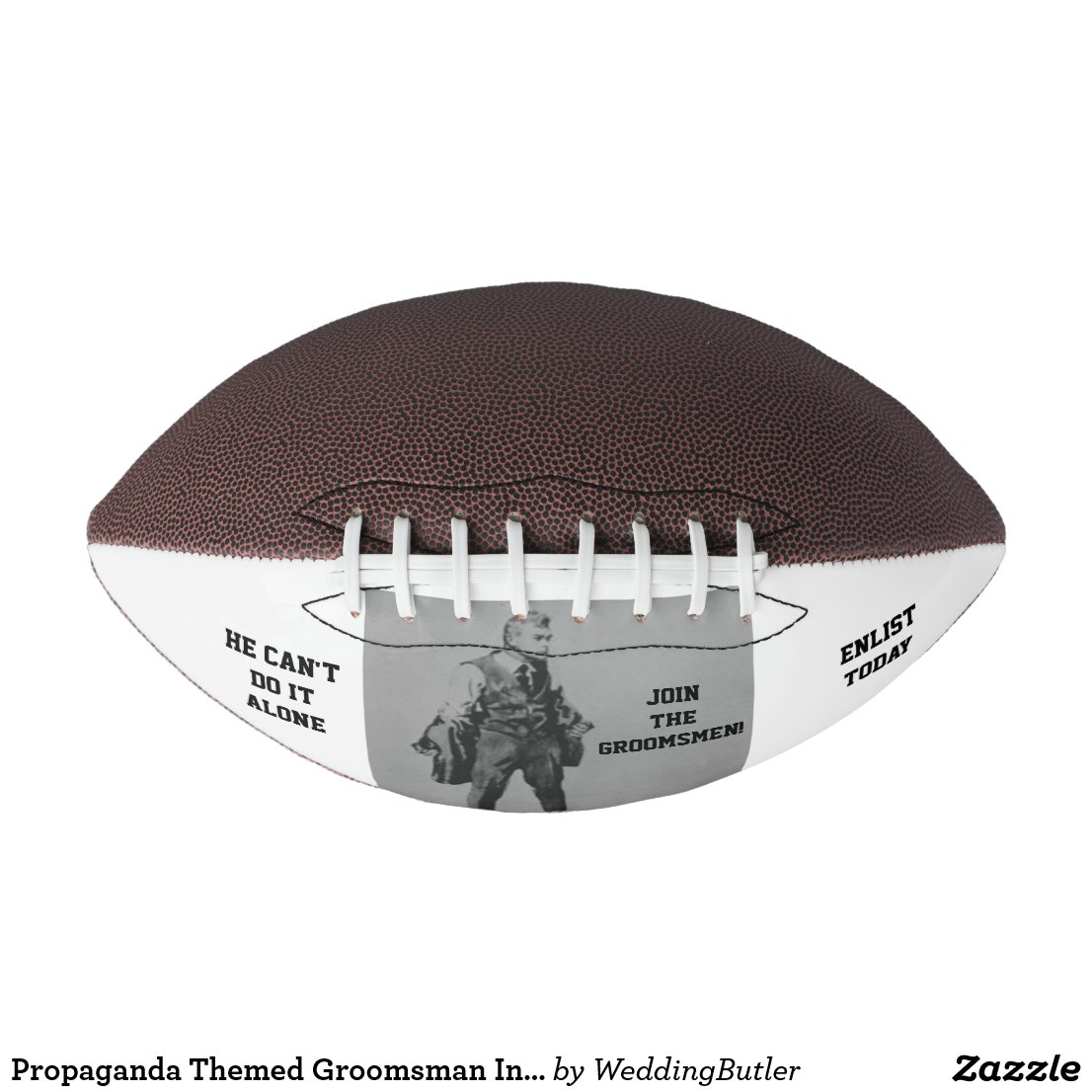 Propaganda Themed Groomsman Invite Football