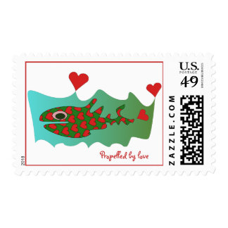 Propelled by love stamp