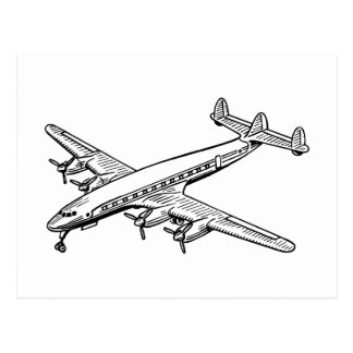 Propeller Airplane Drawing Postcard