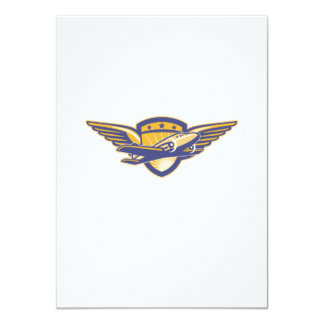Propeller Airplane Shield Wings Retro Custom Invitations