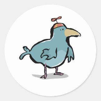 propeller bird round stickers