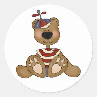 Propeller Hat Teddy Bear Round Stickers