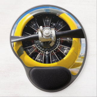 Propeller Of A Parked Older Yellow Airplane Gel Mouse Pad