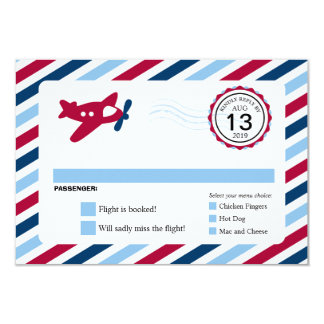 Propeller Plane Airmail Birthday RSVP Card