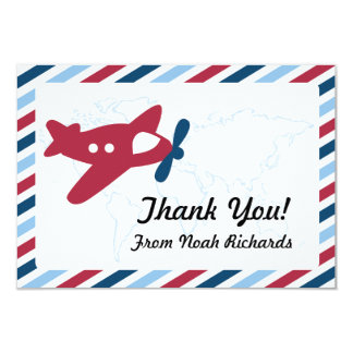 Propeller Plane Airmail Thank you Card