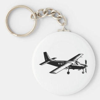 propeller plane airplane aircraft flying flight basic round button keychain