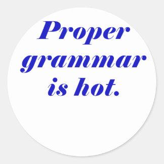 Proper Grammar is Hot Classic Round Sticker