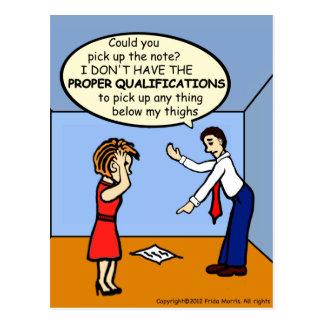 Proper Qualifications ~ hilarious funny comics Postcard