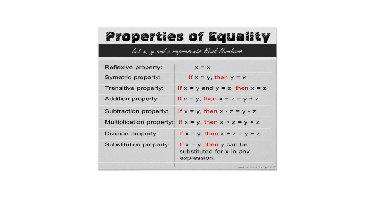 Properties Of Equality Math Poster Zazzle Com