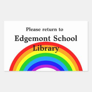Property ID Label - Please Return Rainbow Rectangular Sticker
