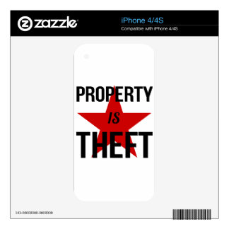 Property is Theft - Anarchist Socialist Communist Decals For iPhone 4S