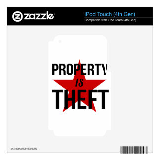 Property is Theft - Anarchist Socialist Communist iPod Touch 4G Decal