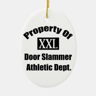 Property Of A Door Slammer By Gear4gearheads Double-Sided Oval Ceramic Christmas Ornament