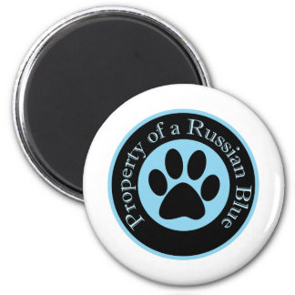 Property of a Russian Blue 2 Inch Round Magnet