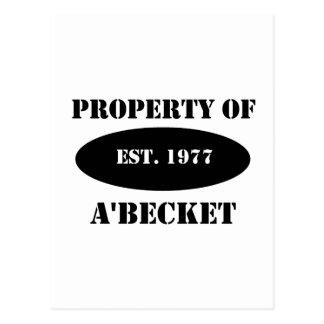 Property of a'Becket Postcard