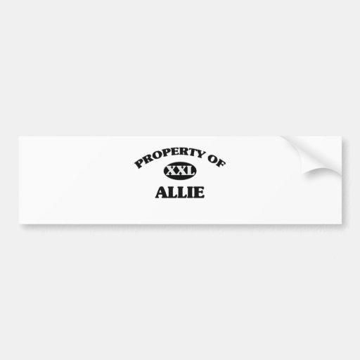 Property of ALLIE Bumper Sticker