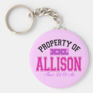 PROPERTY OF ALLISON BASIC ROUND BUTTON KEYCHAIN