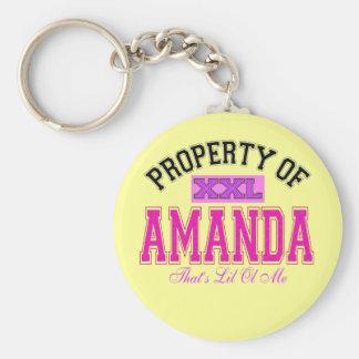 Property of Amanda Basic Round Button Keychain