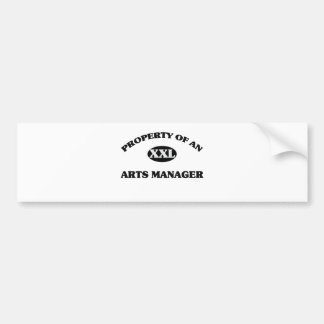 Property of an ARTS MANAGER Car Bumper Sticker
