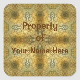 Property of  Baroque Stickers (Personalise) Square Sticker