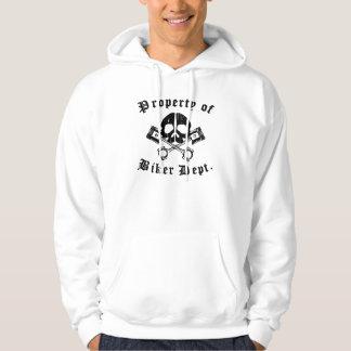 Property Of Biker Dept Gear Skull Hooded Sweatshirt