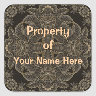 Property of  Black Stickers (Personalise) Square Sticker