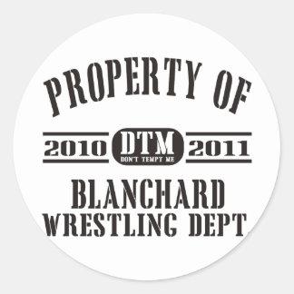 Property Of Blanchard Wrestling Classic Round Sticker