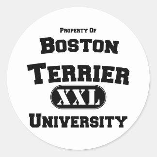 Property of Boston Terrier University Classic Round Sticker