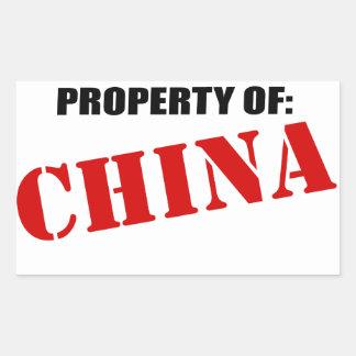 Property Of: China Rectangular Sticker