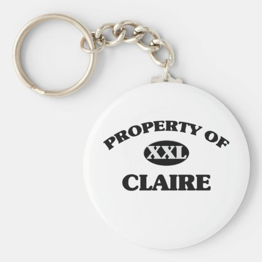 Property of CLAIRE Basic Round Button Keychain