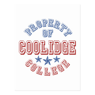 Property Of Coolidge College Postcard